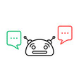 thin line chatbot with chatter box vector image vector image