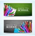 two school banner set vector image vector image