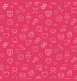 valentines day red seamless pattern in thin vector image