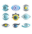 vision eyes isolated abstract icons color pupils vector image