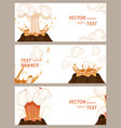 volcanic eruption stages set of banners vector image