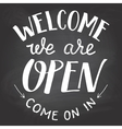 Welcome we are open chalkboard sign vector image