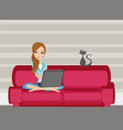 woman with laptop on the sofa at home vector image vector image