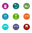 working place icons set flat style vector image vector image