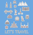 world traveling labels set in linear style vector image vector image