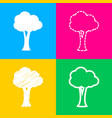 tree sign four styles of icon on four color vector image