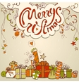 Gift box collection with merry christmas lettering vector image