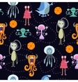 Cute funny cartoon monsters seamless pattern vector image