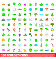 100 ecology icons set cartoon style vector image vector image