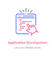 application development line icon on white vector image vector image