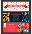 Banners set with flat design chess and players vector image