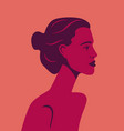 beautiful girl model in profile on red vector image