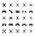 black drone icons set vector image vector image