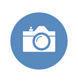 camera icon sign placed in blue circle vector image vector image