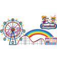 carnival with rides and vendor on white background vector image vector image
