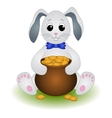 Cartoon Rabbit with Pot of Gold Coins vector image vector image