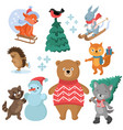 christmas and winter holiday funny animals vector image