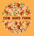 cow agro farm banner smiling vector image
