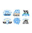 cow and milk emblem farm black sketch stickers vector image vector image