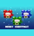 cute christmas gifts different colored santa vector image