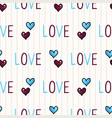 cute hearts with text seamless pattern vector image vector image