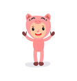 cute little kid in pink pig costume boy or girl vector image vector image