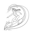 cute woman riding wave on surfboard vector image vector image