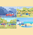 family rest and recreation outdoors and camping vector image vector image