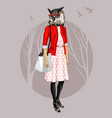 fashion hipster owl on tree background vector image vector image