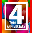four years anniversary 4 year greeting card or vector image