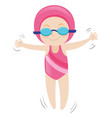 girl in pink swimsuit and pink cap vector image