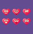 glossy heart characters set funny pink hearts vector image