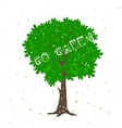 Green Tree Silhouette with Positive Quote vector image