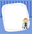 greeting card with cute farmer girl greeting card vector image vector image