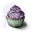 Hand drawn of tasty cupcake sketch vector image