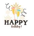 happy birthday fireworks glass background i vector image