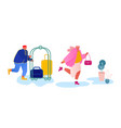 hotel staff meeting guest in hall carrying luggage vector image