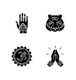 indian culture black glyph icons set on white vector image