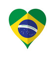 isolated flag of brazil on a heart shape vector image