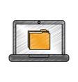laptop computer folder file document information vector image vector image