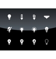 Light bulb and CFL lamp icons on black background vector image vector image
