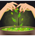 Magic potion in cauldron vector image