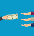many hands reaching out for money vector image vector image