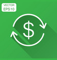money dollar with arrow icon in flat style vector image