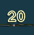 neon garland number vector image vector image