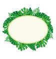 oval label with tropical leaves vector image vector image