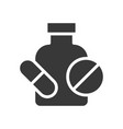 pill with bottle medical related solid icon vector image vector image