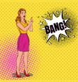 pop art pretty woman posing with finger gun vector image vector image