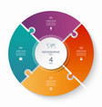 puzzle infographic circle with 4 steps options vector image