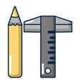 ruler pencil icon cartoon style vector image vector image